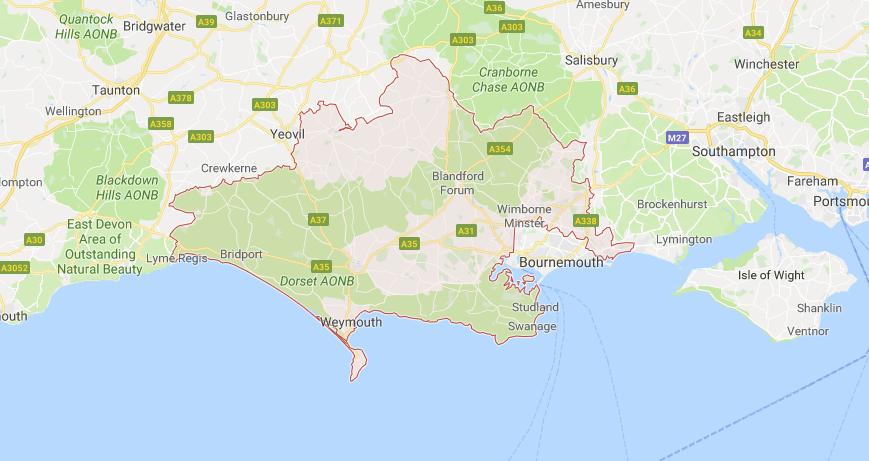 map of Bournemouth. Dorset